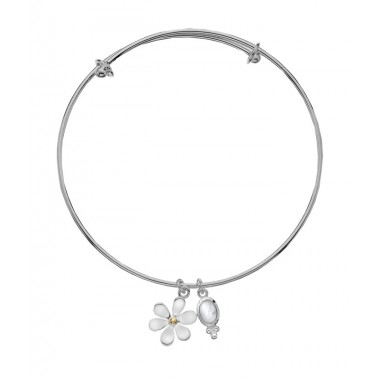 Single Daisy with a Golden Center and Moonstone Charm - Bangle