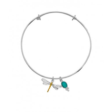 Dragonfly Bangle with Gold Plating Detail and a Gemstone Charm