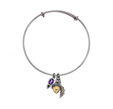 Acorn and Leaf Bangle with Gemstone Charm