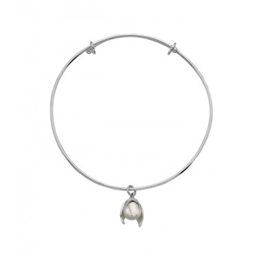 Snowdrop Bangle with a Freshwater Pearl