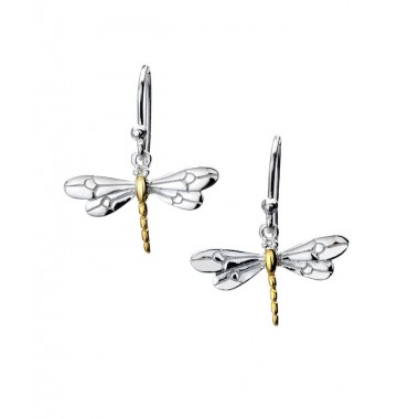 Dragonfly Drop Earrings with Gold Plating Detail