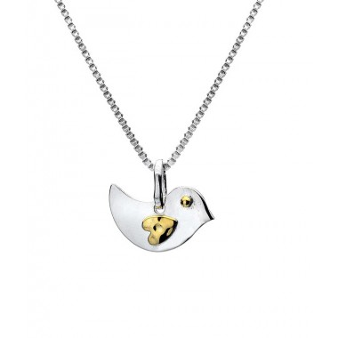 Love Bird Necklace with a Golden Heart