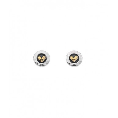 Round Oxidised Stud Earrings with a Golden Heart