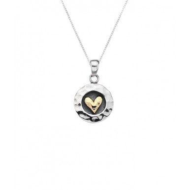 Round Oxidised Necklace with a Golden Heart