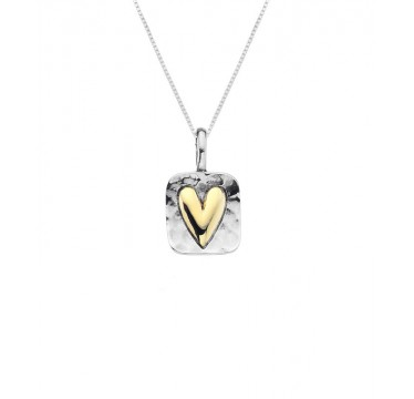 Square Hammered Necklace with a Golden Heart