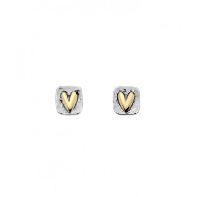 Square Hammered Stud Earrings with a Golden Heart