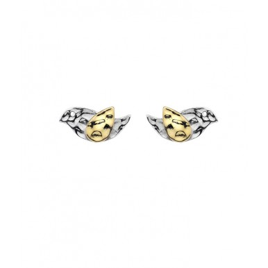 Bird with Golden Wing Stud Earrings