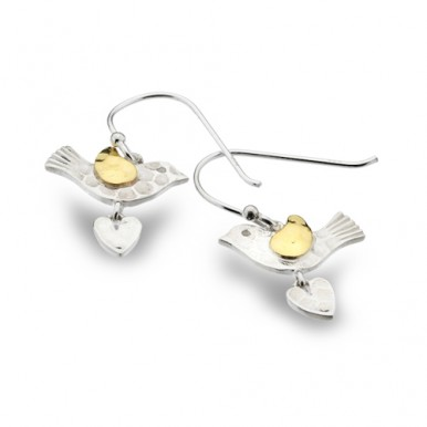 Bird Drop Earrings with Golden Detailing and a Heart Drop