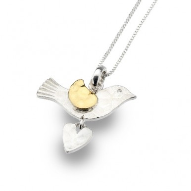 Bird Necklace with Golden Detailing and a Heart Drop