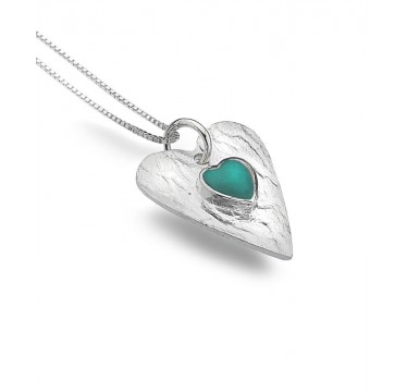 Turquoise Textured Heart Necklace