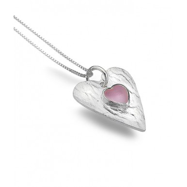Mother of Pearl Textured Heart Necklace