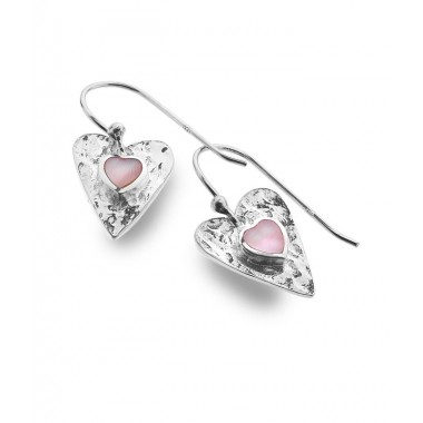 Mother of Pearl Textured Heart Drop Earrings