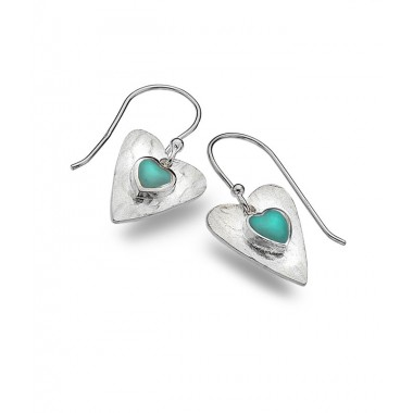 Turquoise Textured Heart Drop Earrings
