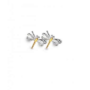 Dragonfly Stud Earrings with Gold Plating Detail