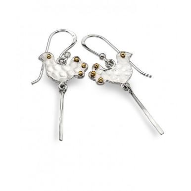 Bird Drop Earrings with Golden Detailing