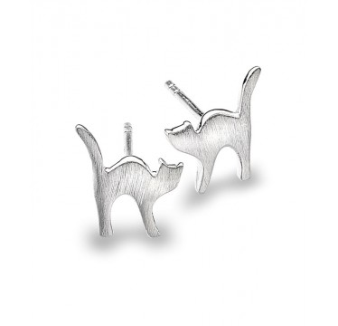 Cute Cat Stud Earrings with a Brushed Texture Finish