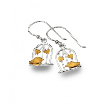 Bird Cage Drop Earrings with Golden Birds and Hearts