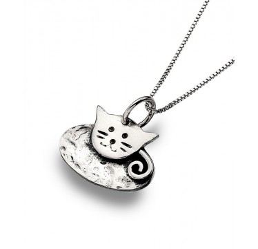 Cute Cat Necklace with a Hammered Texture Finish