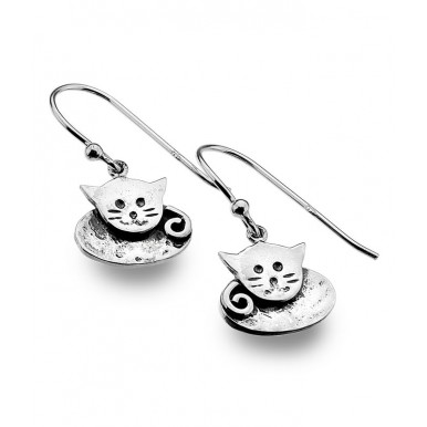 Cute Cat Drop Earrings with a Hammered Texture Finish