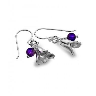 Bluebell Earrings with an Iolite Gemstone Drop