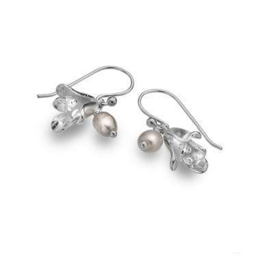 Bluebell Earrings with a Freshwater Pearl