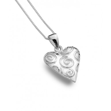 Heart Necklace with Raised Curls
