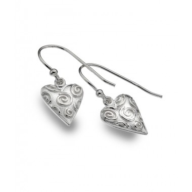 Heart Drop Earrings with Raised Curls