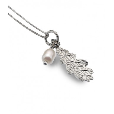 Oak Leaf Necklace with Pearl