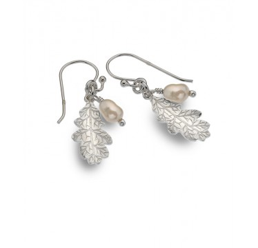 Oak Leaf Drop Earrings with Pearl
