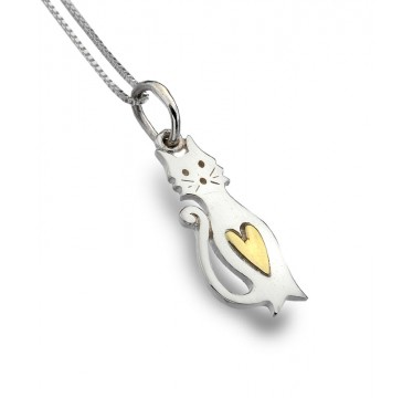 Cute Cat Necklace with a with a Golden Heart