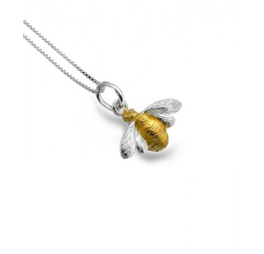 Bee Necklace with a Brushed Gold Plated Body