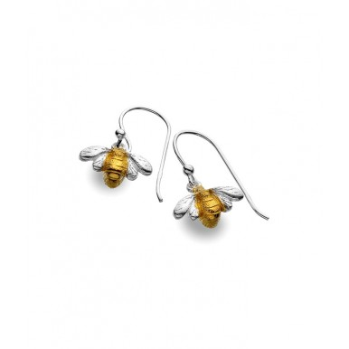 Bee Drop Earrings with a Brushed Gold Plated Body