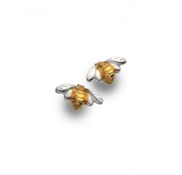 Bee Stud Earrings with a Brushed Gold Plated Body