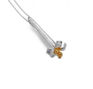Long Flower Drop Necklace with a Golden Centre