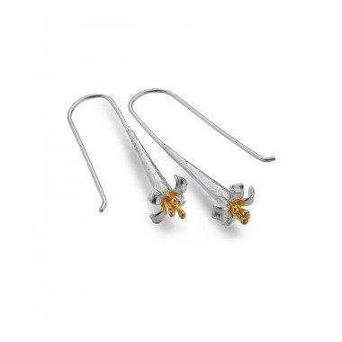 Long Flower Drop Earrings with a Golden Center