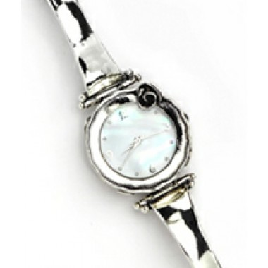Plain Silver Round Face Watch with Safety Chain