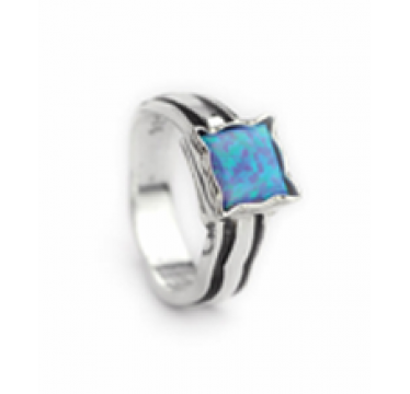 Sliver and Opal Ring - Large Square Stone