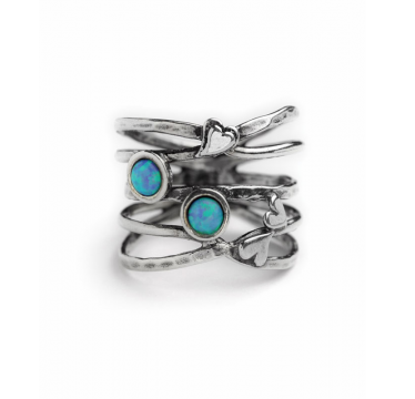 Sliver and Opal Heart Ring - Multi Band