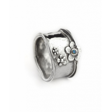 Sliver and Opal Flower Ring - Wide