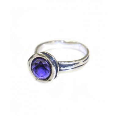 Silver Ring Set with Round Amethyst Stone - Only 4 left