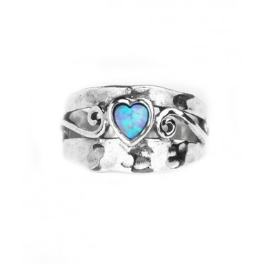 A Hammered Silver Ring with Opal Heart