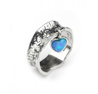 Hammered Silver Ring with Dangly Opal Heart