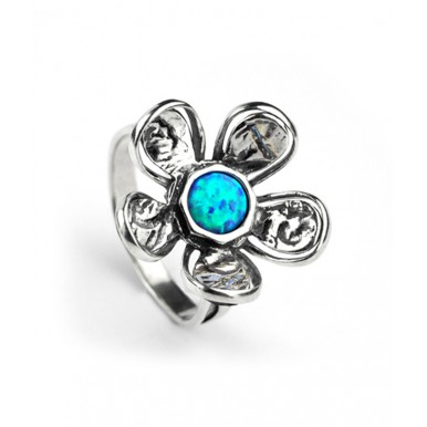 Big Flower Silver Ring with Opal - Last One