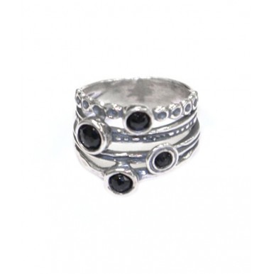 Silver Ring Set with 4 Round Onyx Stones