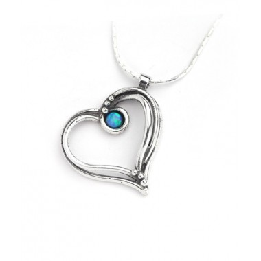 Pretty Heart Necklace with Opal