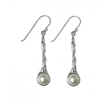 Organic Design - White Pearl Silver Earrings