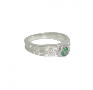 Textured Silver and Emerald Ring