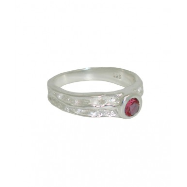 Textured Silver and Ruby Ring