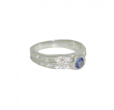 Textured Silver and Tanzanite Ring