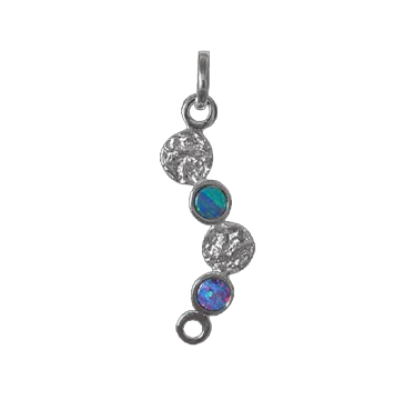 Silver and Opal Pendant - 6 Circles